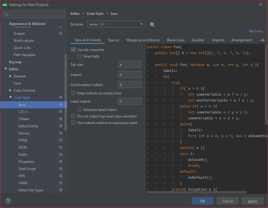 Android Studio editconfig